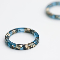 Resin Stacking Ring Sapphire Blue Gold Flakes Thin Smooth Ring OOAK dark midnight blue glam minimalist jewelry rusteam