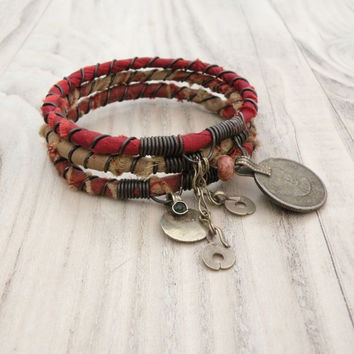 Silk Road Gypsy Bangle Stack - Ramadi Red - 3 Bohemian Tribal Bracelets, Silk Wrapped
