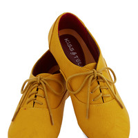 Cartoon Afternoon Flat in Mustard | Mod Retro Vintage Flats | ModCloth.com