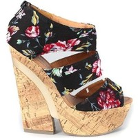 Black Pink Floral Peep Toe Platform Wedge:Amazon:Shoes