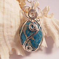 Wire Wrapped Sea Sediment Jasper, Heart Shape Wire Work, Handmade Wire Jewelry