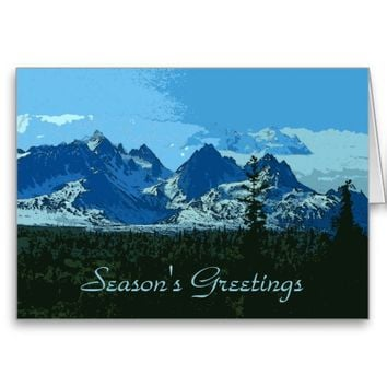 Mountain Peaks digital art - Holiday Wish Greeting Cards