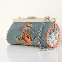 Vintage Embroidery Pouch Clutch Petit Point Embroidery