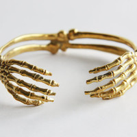 Hand Skeleton Bracelet - Brass Metal Cuff /Bangle