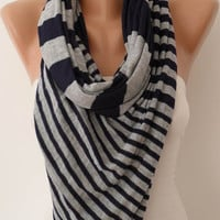 Dark Blue and Grey Scarf - Combed Cotton - Headband - Bridesmaid - Gift