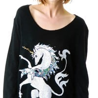 Wildfox Couture Unicorn Crew Neck Sweater Clean Black