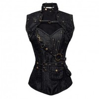 ND-018 - Black Brocade Pattern Steampunk Corset with Matching Jacket