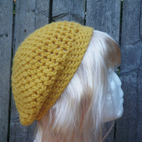 Yellow acrylic crochet beret, yellow beanie
