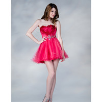 SALE! 2013 Prom Dresses- Hot Pink Feathered Tulle Short Prom Dress - Unique Vintage - Prom dresses, retro dresses, retro swimsuits.