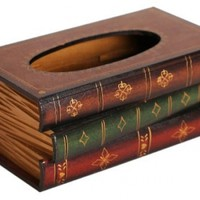 Claybox Elegant Hand Crafted Wooden Scholar's Antique Book Tissue Box Dispenser:Amazon:Home & Kitchen