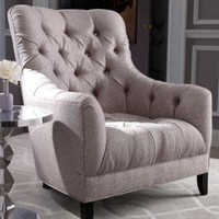 """Cornell"" Tufted Wing Chair - Horchow"