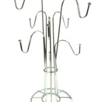 Large Chrome 8 Cup Rack Coffee Mug Cup Tree Stand