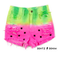Watermelon High Waisted Denim Short - with Studs