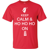 Keep Calm and  Ho Ho Ho On Merry Christmas Funny T-Shirt Tee Shirt T Shirt Mens Ladies Womens Modern Merry Christmas Xmas ML-007