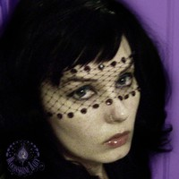 Violetta - Black Lace Bandeau Mask w/ Amethyst Purple Swarovski Crystals & French Netting -  by Moonshine Baby