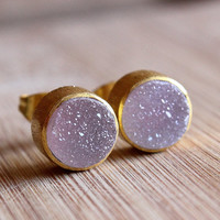 Baby Pink Agate Druzy Gold Round Stud Earrings