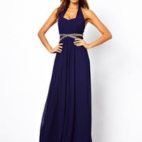 Little Mistress Halter Maxi Dress with Embellished Waist at asos.com