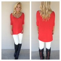 Red V-Neck Basic Modal Top