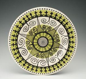 Celebration Platter/Plate with Ornate Designs by owlcreekceramics