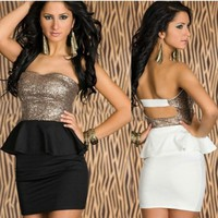 MISS GLAMOUR SEQUINED PEPLUM DRESS