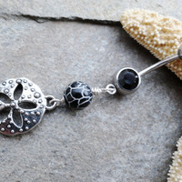 Belly Button Ring Sand Dollar Black Agate Barbell by MidnightsMojo