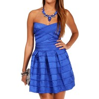 Royal Rubber Band Texture Skater Dress