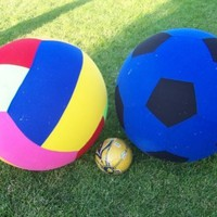 "New Huge 2 Giant Balls - Inflatable 78"" Round Soccer Ball and 78"" Round Volleyball Pair Indoor Outdoor Fun.:Amazon:Sports & Outdoors"