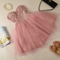 PINK FULL RIVET NICE RHINSTONE DRESS
