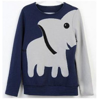 Fun elephant pattern long-sleeved pullover sweater leisure