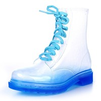 ZLYC Candy Color Transparent Flat Lace Up Ankle Martin Rain Boots