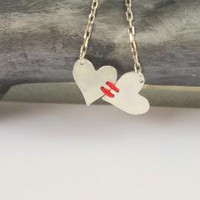 Visible Connective Heart to Heart Sterling Necklace by meltemsem