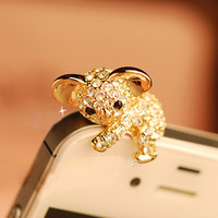 1PC Bling Crystal Cute Koala Bear Cell Phone Earphone Jack Antidust Plug Charm for iPhone 5c,5s,Samsung S3,S4 Gift for Him Friend Gift