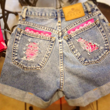GIRLS Pink Bandana Cross Studded High Waisted Shorts