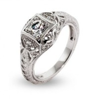 Vintage Deco Style Sterling Silver CZ Engagement Ring:Amazon:Jewelry