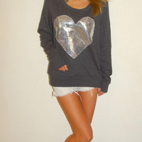 """Dazzle My Love"" Big Sequin Heart Sweatshirt - Charcoal - Loveandbambii.com"