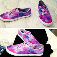 tie dye galaxy canvas shoes