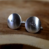 Sterling silver monogram cuff links