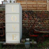 Painted Metal Filing Cabinet