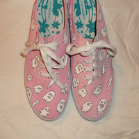 Spooky Kawaii Ghost Shoes || Hand Painted