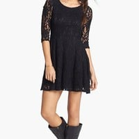 Lush Three Quarter Sleeve Lace Skater Dress (Juniors) | Nordstrom