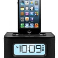 iHome Dual Charging Stereo FM Clock Radio with Lightning Dock and USB Charge/Play for iPhone/iPod:Amazon:MP3 Players & Accessories