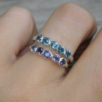 Sky Blue Topaz Gemstone Ring  Anniversary Band, Sterling Silver Ring  Jewelry