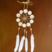 3 Floral White Daisy Dream Catcher by DreamDen on Etsy