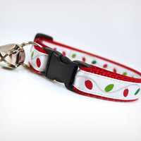 "Cat Collar - ""Christmas Lights"" - Holiday String Lights on Red"