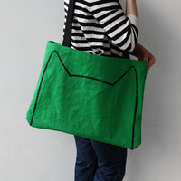 Emerald Green Cat Tote Bag