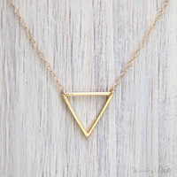 Small Triangle Necklace - Geometric Necklace, Dainty Gold Necklace, Chevron Arrow, Small Triangle, Simple Everyday, Minimalist Necklace