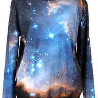 ROMWE | Galaxy Print Loose Dark Blue Sweatshirt, The Latest Street Fashion