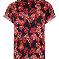 Black Burgundy Rose Print Short Sleeve Shirt - Men's Shirts  - Clothing