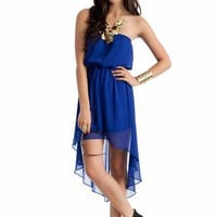 high-low chiffon tube dress $20.20 in BLACK CORAL ROYAL - Casual | GoJane.com