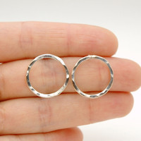 Sterling Silver Hammered Karma Circle Post Earrings - Simple Modern Minimalist Jewelry - Hoop Earrings